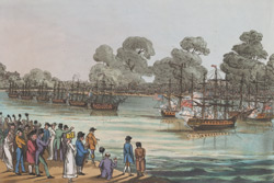 The action between the British and American frigates on the Serpentine River, Hyde Park